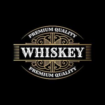 Vintage luxuriöse königliche rahmenetiketten mit logo für bier-whiskey-alkohol-getränke-flaschenverpackungsdesign