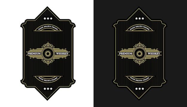 Vintage luxuriöse königliche rahmenetiketten mit logo für bierwhisky-alkohol-getränkeflaschenverpackungen
