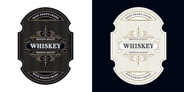 Vintage-luxus-antik-whisky-grenzrahmen-western-gravur für bierwein-whisky-verpackungsetikett