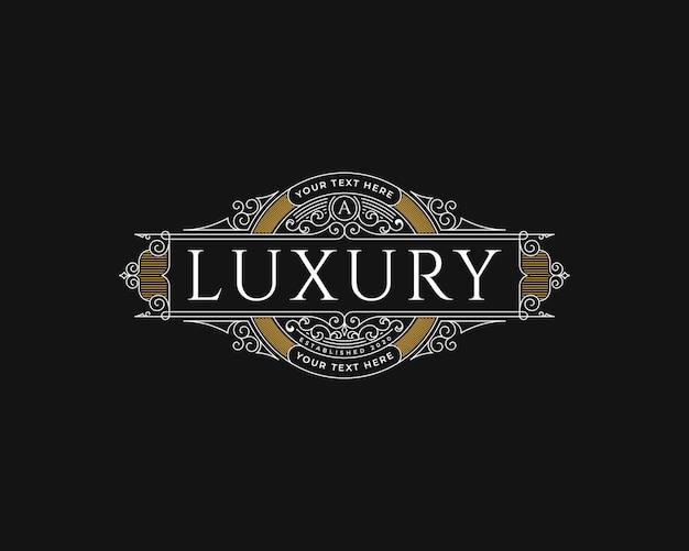Vintage luxus-logo-design des erbes mit dekorativem rahmen
