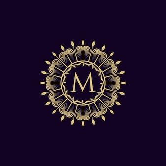 Vintage luxus logo letter m kollektion design