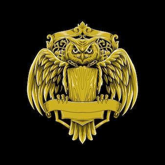 Vintage luxus-logo-vektorillustration der eule