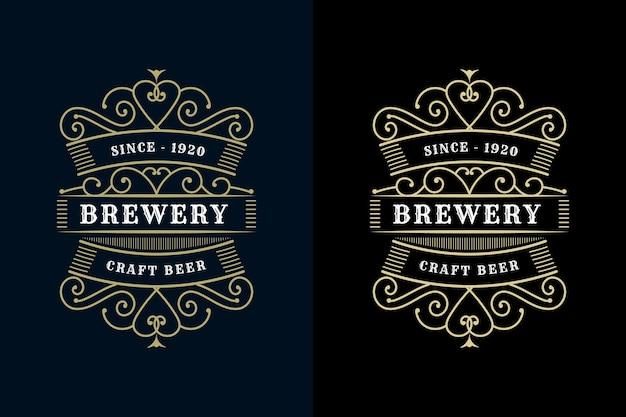 Vintage luxusrahmen logo-etikettenverpackung für bier whisky alkohol und getränkeflaschenetiketten
