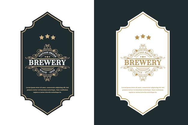 Vintage luxusrahmen logo label für bier whisky alkohol und getränke flaschenetiketten