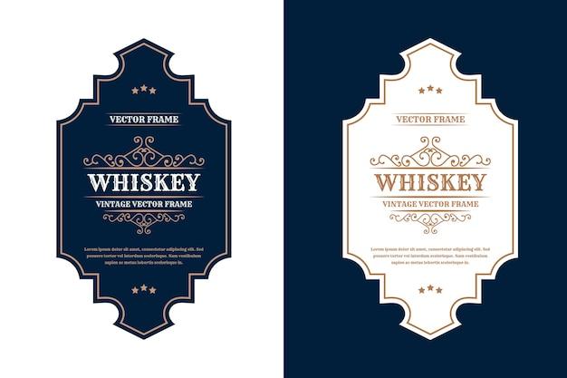 Vintage luxusrahmen logo label für bier whisky alkohol und getränkeflaschen etiketten premium
