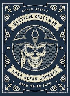 Vintage marine monochromes plakat
