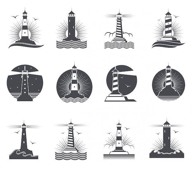 Vintage marineaufkleber des leuchtturmes, leuchttürme und retro- seelogosatz der meereswogen