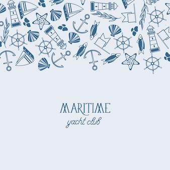 Vintage maritime mit inschrift und handgezeichneten nautischen und marinen elementen