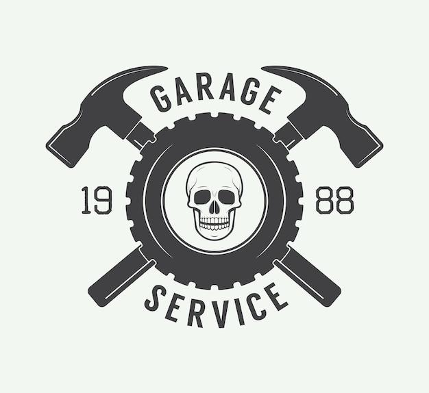 Vintage mechaniker-label, emblem und logo. vektor-illustration