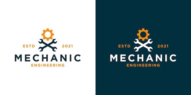 Vintage-mechanikerwerkstatt-logo-design mit mechanischer ausrüstung für ihre geschäftswerkstatt usw