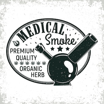 Vintage medizinisches cannabis-logo-design, grange-druckstempel, kreatives marihuana-typografie-emblem