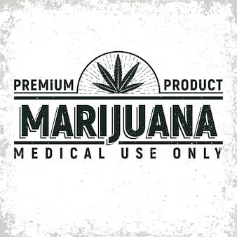 Vintage medizinisches cannabis-logo-design