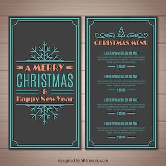 Vintage-menü von weihnachten und neujahr