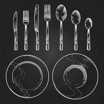 Vintage messer, gabel, löffel und geschirr in skizze gravur stil. handzeichnungstischbesteck auf tafel
