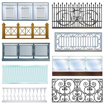Vintage metall stahlzaun zaun balkon geländer dekoration architektur design illustration satz der klassischen handlauf balustrade konstruktion isoliert auf weißem hintergrund