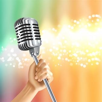 Vintage mikrofon licht hintergrund poster
