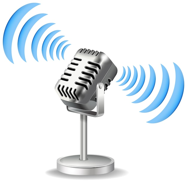 Vintage mikrofon mit schallwellensymbol