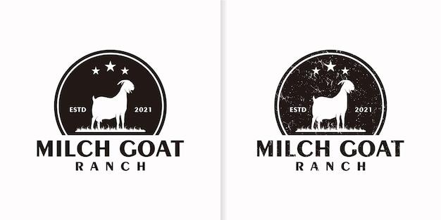 Vintage milchziegen-logo-referenz