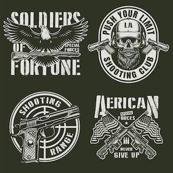 Vintage militärische embleme gesetzt
