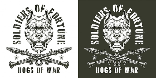 Vintage militärische monochrome embleme