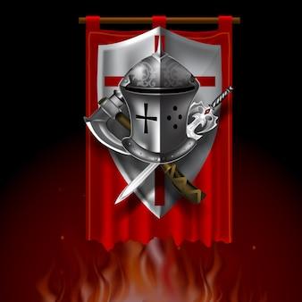 Vintage mittelalterliche logo mit schild helm, schwert und axon auf rotem banner. spielstil