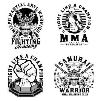 Vintage mixed martial arts embleme set