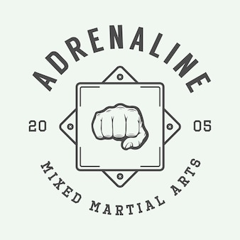 Vintage mixed martial arts logo, abzeichen oder emblem. vektor-illustration. grafik-design.