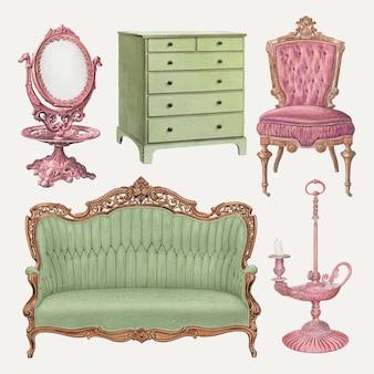 Vintage-möbel-vektor-illustration-set, neu gemischt aus der public domain-sammlung