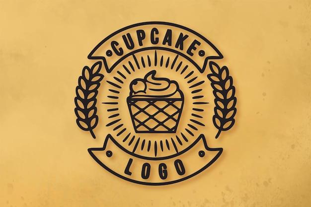 Vintage mono line cupcake und weizen, bäckerei logo designs inspiration