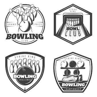 Vintage monochrom active recreation emblems set