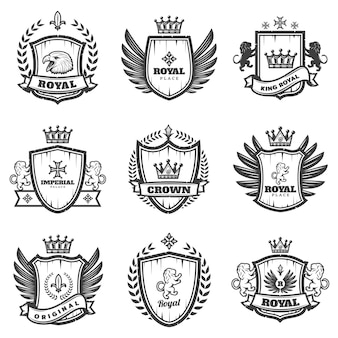 Vintage monochrom heraldic emblems set