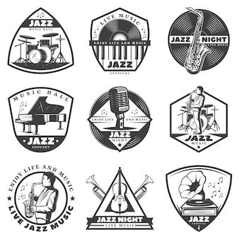 Vintage monochrom jazz musik etiketten set