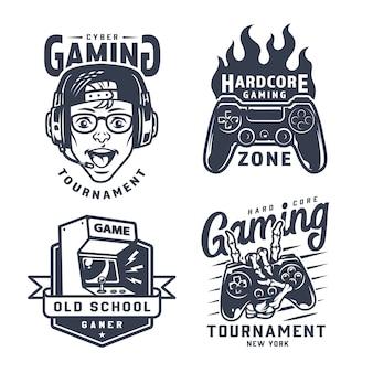 Vintage monochrome gaming-etiketten gesetzt