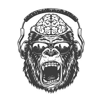 Vintage monochrome gorilla mit kopfhörern.