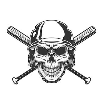 Vintage monochrome schädel im baseballhelm