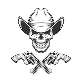 Vintage monochrome schädel im cowboyhut