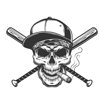 Vintage monochrome schädel in baseballmütze