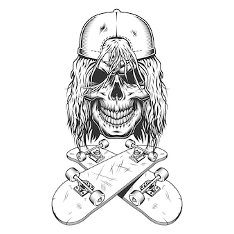 Vintage monochrome skateboarder schädel in der kappe