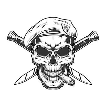 Vintage monochrome soldat schädel in baskenmütze