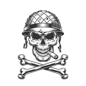 Vintage monochrome soldatenschädel im helm
