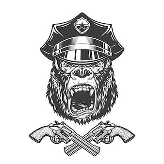 Vintage monochrome verärgerte gorillakopf