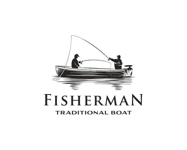 Vintage monochromes fischen-logo-konzept mit fischer im traditionellen boot isolierter vektor