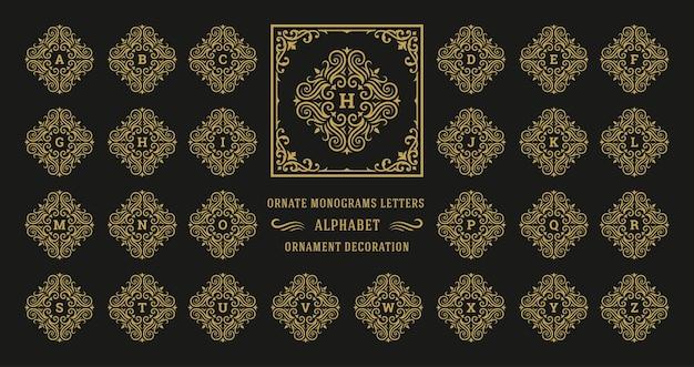 Vintage monogramm alphabet buchstabe mit dekorativen schnörkel ornament rahmen