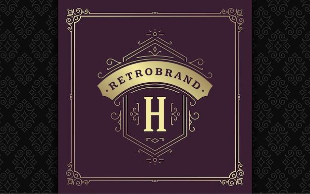 Vintage monogramm logo elegante schnörkel linie kunst anmutige ornamente viktorianischen stil vektor template design. königliche heraldische boutique des klassischen kalligraphischen luxuswappens, restaurantschild und verzierter rahmen