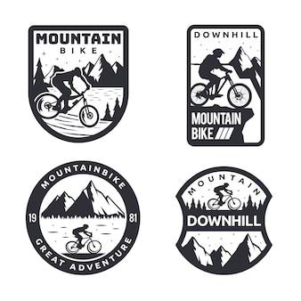 Vintage monotone mountainbike downhill logo abzeichen set