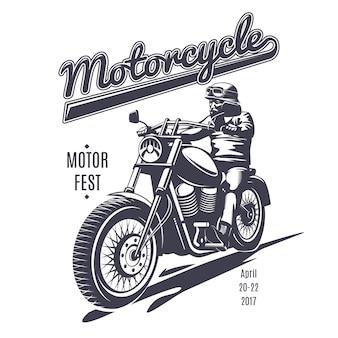 Vintage moto fest logo vorlage