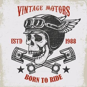 Vintage motoren. fahren sie hart. weinlese-rennfahrerschädel in der geflügelten helmillustration auf schmutzgrund. element für plakat, emblem, zeichen, t-shirt. illustration