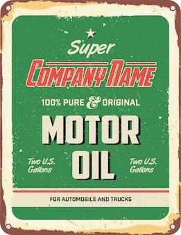 Vintage-motoröl zinnzeichen