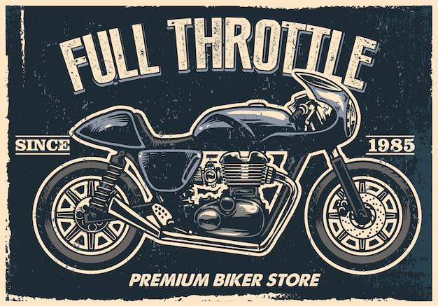 Vintage motorradladen zeichen