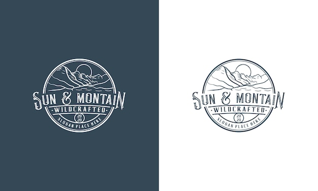 Vintage mountain adventure logo design vorlage